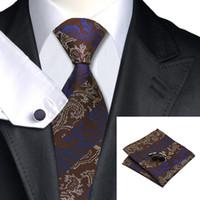 gravata marrom homens s venda por atacado-Clássico dos homens Gravata Brown Strip Reunião Formal Tie Cufflinks Hanky Liquidação Liquidação Jacquard Tecido Laço De Seda N-0374