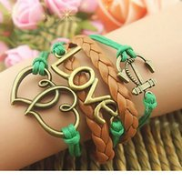 Wholesale Make Leather Cuff Bracelets - wholesale lots 100pcs mix different styles hand made copper alloy and leather Multilayer Retro Vintage Ethnic Tribes Jewelry Cuff Bracelets