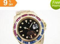 Wholesale Diamond Mens Wrist - newLuxury Brand Black Dial Golden Stainless Belt Whatches Blue and Red Diamond Irab Bezel Watch Mens Fashion Wrist Watches