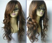 Wholesale Wigs For Cheaper - 100% cheaper Brazilian lace false hair American black women synthetic hair wigs for Cosplay >>Hot Sell! New long Vogue Light Brown Fashion W
