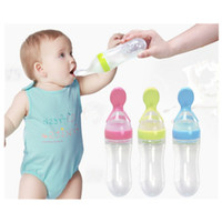 Wholesale Feeding Babies Rice - 90ml New Silicone Baby Spoon Boon Training Scoop Feeding Rice Cereal Bottle Baby Feeding Spoons