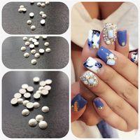 Wholesale Korean Manicure - 1000pcs 3D Imported Korean Fashion Pure ceramic White Nail Art Tips Pearl Gem Glitter Manicure DIY Decoration