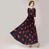 gedrucktes chiffon- ballkleid großhandel-Neue Ankunft Herbst Mode Frauen Langes Kleid Persönlichkeit Rote Lippendruck Kleid Ballkleid Chiffon Maxi Kleid