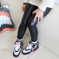 Wholesale Kid Girls Leather Trousers - New Kids Girls Stretchy Leggings Faux PU Leather Elastic Waist Skinny Pants Trousers Black Spring Autumn