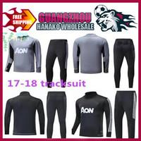 Wholesale Men Tight Football Shorts - top thai quality 2017 2018 Survetement football man tracksuit training kits Soccer 17 18 united training shinny tight pant sweater suit