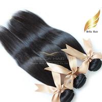 cabelo humano bella venda por atacado-Barato Cabelo Brasileiro Peruano Indiano Malaio Cambojano Europeu Reta Tece Extensões de Cabelo Humano 3 Pcs Bella Cabelo Drop Shipping 8A