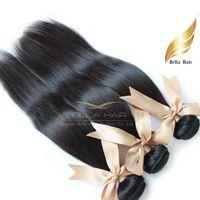 bella düz saç toptan satış-Ucuz Brezilyalı Saç Perulu Hint Malezya Avrupa Kamboçyalı Düz Örgüleri İnsan Saç Uzantıları 3 Adet Bella Saç Drop Shipping 8A
