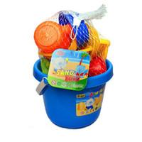 plaj seti oyuncakları toptan satış-13 Adet / takım Bebek Çocuk Ahtapot Kova Maça Komisyon Pot Kum Su Sahil Plaj Banyo Kazı Kum Su Oyuncak Oynamak Oyuncak