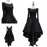 Real Photos A-Line Scoop Lace Prom Dresses Long Party Dresses Hi-Lo Ball Gowns Long Sleeves Dresses Evening Wear High Low Little Black Cocktail Dresses 2017