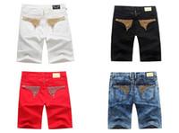 online shopping Mens White Jeans Size 32 - 2016 new Arrivals Mens Short Jeans Men's Designer Jean Cowboy Denim Pant with Eagle Wings Embroidery Men us size 4 colour 32-42