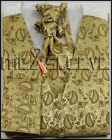 Wholesale Cheap Ascots For Men - Wholesale-free shipping gold cheap man's waistcoat for party wedding(vest+ascot tie+handkerchief+cufflinks)
