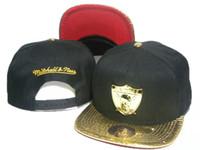 Wholesale Mitchell Ness Football Hats - 2016 New Style black mitchell & ness football snapback hats metal logo gold brim team snap back sports caps 1 pcs free shipping DD