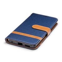 étui portefeuille huawei g6 achat en gros de-Pour LG G6 K7 K8 K10 2017 Cas Wallet Case denim tissu Flip étui en cuir Pour 2017 Huawei P8 Lite Couverture Avec Kickstand