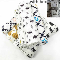 Wholesale Nursery Prints Animals - 27 styles Kids Muslin Swaddles Ins Wraps Blankets Nursery Bedding Newborn Organic Cotton Ins Swadding Bath Towels Parisarc Robes Quilt Robes