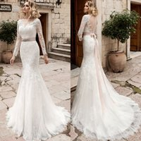 Wholesale wedding dress rustic sashes online - Vestido De Noiva Bridal Gown Rustic Long Sleeve Mermaid Wedding Dress Women Civil Sexy Lace Backless Wedding Dresses