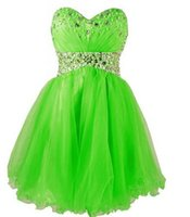 Wholesale Lime Green Short Ball Gown - 2016 New A Line Prom Dresses Sweetheart Beads Crystals Lime Green Royal Blue Ball Gowns Organza Backless Short Prom Dresses DG