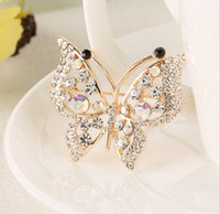 Wholesale Silk For Scarfs China - hot Rhinestone broche Butterfly Shape Brooch Alloy Jewelry Women Breast Pin party dresses lapel pins silk scarves clips brooches for wedding