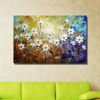 Wholesale canvas beautiful flower paint - Beautiful Flower Wall Art Cheap Modern Oil Painting for Living Room Decoration Hand Painted Knife Oil Painting on Canvas