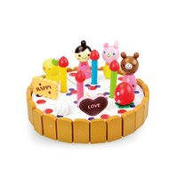 Wholesale wooden kitchen play set - Wooden Cake Toys Set Role Play Kitchen Toys for Children Learning&Educational DIY Toys Birthday Gifts for Kids Pretend Play Game