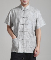 Wholesale Tai Chi Clothing Linen - Wholesale-Beige Chinese Men Cotton Linen Shirt Traditional Tai Chi Shirt With Pocket Handmade Clothing S M L XL XXL XXXL MS111