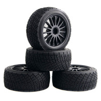 Wholesale Rally Parts - 4pcs 80mm Tarmac Wheels & Tires For RC HPI WR8 Rally Off Road Buggy   Truck   HSP 1:10 94177 Black   White