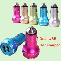 USB Car Charger Chargeur Portable Colorful Mini voiture Charge adaptateur universel LED pour l'iPhone 7 iPad Samsung S7 DHL CAB146