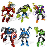 Wholesale Robot Ornaments - Super Heroes The Avengers 2 Puzzle Assembled Model Toy Building Robot Blocks Sets Boy Doll Children Gift Ornaments Deformation Free Shipping