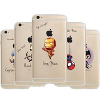 Wholesale Marvel Iron Man Iphone Case - clear tpu marvel hero cases iron man batman hulk thor quicksilver soft cases For Iphone 5s 6 6s plus samsung S7 S7 edge S6