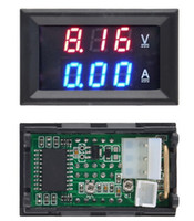 Wholesale Volt Meter Blue - 1pcs Top Quality DC 100V 10A Voltmeter Ammeter Blue + Red LED Amp Dual Digital Volt Meter Gauge