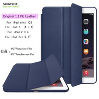 Wholesale Waterproof Case For Original Ipad - Original 1:1 Ultra Slim Smart Cover For iPad 234 Mini123 Air 1 Pro 9.7 PU Leather Tablet Cases For iPad 5,7.9 inch 9.7 inch Auto Wake Sleep