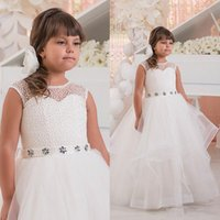Wholesale sleeveless layered dresses children resale online - White Crystals Beaded Flower Girl Dresses For Wedding Crew Sleeveless Tulle Layered Children Prom Dresses Little Girl Birthday Party Gowns