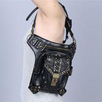 Wholesale Leather Women Bags Online - Steampunk Leather Waist Bag Pack Motorcycle Rock Ladies Messenger Bag Multifunctional Designer Fashion Bags Sale Online