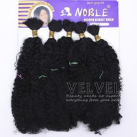 "Wholesale Synthetic Hair Extension Noble Gold - 1PC+Noble Gold Kinky Bulk 22"" Color 1# Black Bulk Hair Braiding Hair Synthetic Braiding Hair Extension 5bundles Pack Braids"