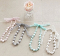 Wholesale Lace Necklace Child - Hot sell girls pearl lace Hang rope necklace Children princess Necklace Child Jewelry Children's Accessories kids Gifts 4 colors A8404