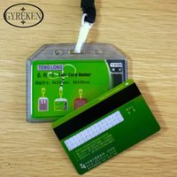Wholesale Id Badge Holders Pvc - Bank Credit Card Holders Candy Colors PVC Clear Soft Name Credit Card Holders Neck Strap Card ID holders Identity badge lanyard
