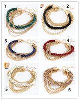 Wholesale Handwoven Rope - 6 Colors Fashion Women Accessories Bracelets Chain Bracelet Femme High Quality Handwoven Rope Jewelry Multilayer Charm Bracelet