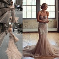 Wholesale Detailed Sweetheart Mermaid Wedding Dress - Inbal Dror 2016 Spring beach Chocolate champagne Lace Tulle Mermaid Wedding Dresses beaded detail Sweetheart Backless Trumpet Wedding Gown