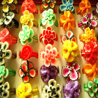 Wholesale asian bulk jewelry - wholesale bulk lots 100PCs mixed styles women's girl's colorful clay flowers party jewelry rings brand new