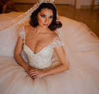 Wholesale Short Weding Dresses - Luxury Ball Gown Wedding Dresses Turkey V Neck Beaded Crystal Pearl Lace Weding China Bridal Bride Wedding Gowns robe de mariage