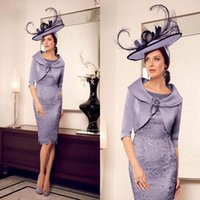 Wholesale Prom Dresses Bolero - 2016 Lavender Neck Knee Length Lace Mother Dresses Half Sleeves With Bolero Jacket Short Cocktail Prom Dresses Mother Formal Wear BA1523