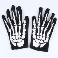 Wholesale Skeleton Halloween Gloves - Halloween skeleton gloves Costume party clothing accessories Performing props dance party supplies Horror ghost skeleton gloves