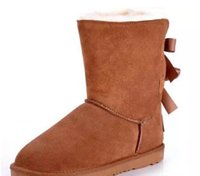 Wholesale Australian Quality - High quality NEW Australian classic wgg winter boots leather belly bow women's shells butterfly boots