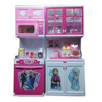 Wholesale Pink Girls Play Kitchen - Elsa Anna Kitchen Toys Classic Pretend Play Kitchen Tableware Learning Education Good Cut Adorable Gift for Kids