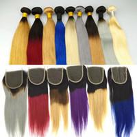 kırmızı düz insan saç örgüsü toptan satış-Brezilyalı Düz İnsan Saç Örgüleri ile 4x4 Dantel Kapatma İnsan Saç Örgüleri Ombre Kırmızı Mavi Mor 99J Bordo 1B / 4/27 Saç Atkı
