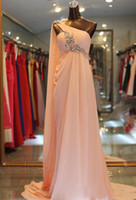 Wholesale Long Diamond Prom Dresses - Diamond Crystal Chiffon Long Prom Dresses One Shoulder Pleats Draped Sleeveless Pearl Pink Formal Party Evening Gowns Arabic 2017