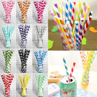 Wholesale Drinking Paper Straw - colorful drink paper straws strip drink paper straws 61 color Eco-friendly Drinking Straws