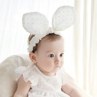 Wholesale Baby Ear Band - FREE SHIPPING 2016 NEW Baby fashion lovely rabbit ear Headbands hair headdress children cotton hair band wholesale