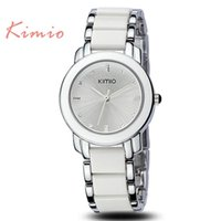 Women's Water Resistant Round JW770 Kimio Brand New Ladies Women Luxury Bracelet Dress Watches with Ceramic Fine Steel Strap Drop Free shipping 2 Colours