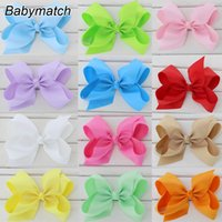 Wholesale Silk Hair Bows For Girls - 6'' large ribbon hair bows with clip big hairbows for girls kids teens children hairpins 50pcs lot Free Shipping HJ008+5.5cm