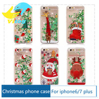 Wholesale Christmas Phone Cases - 2016 New Merry Christmas Tree Dynamic Colorful Quicksand Glitter Phone Case For iphone 7 7Plus 6 6s Plus 5 SE Hard back cover coque